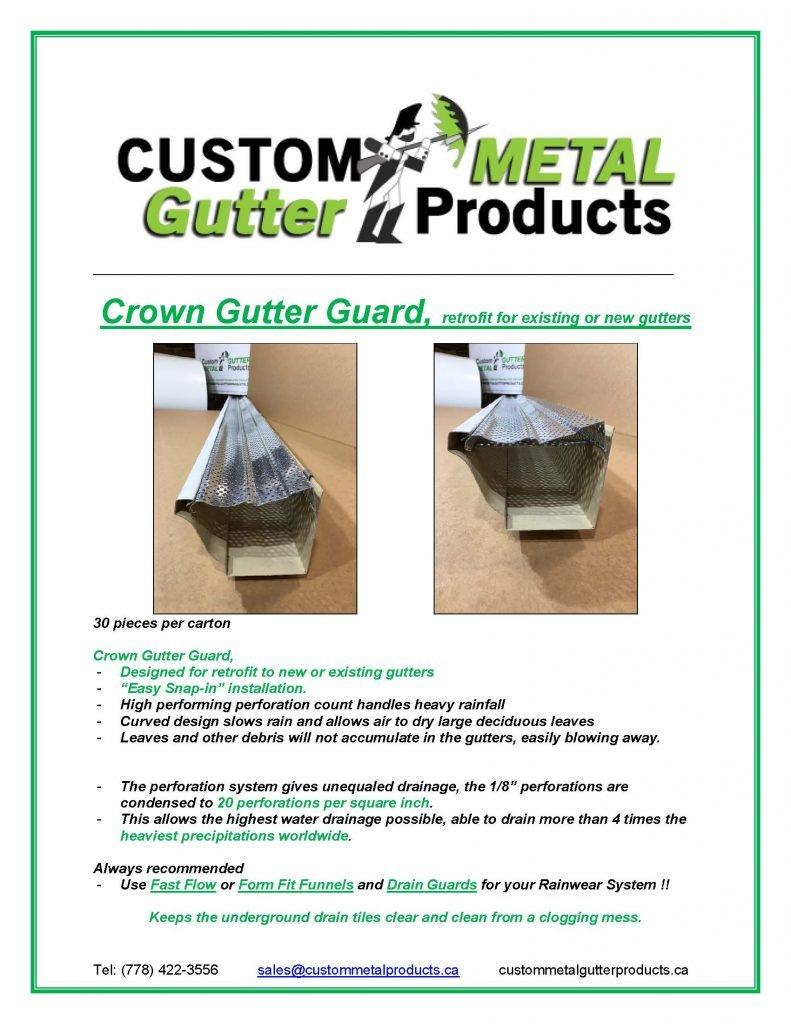 Crown Gutter Guard Fact Sheet