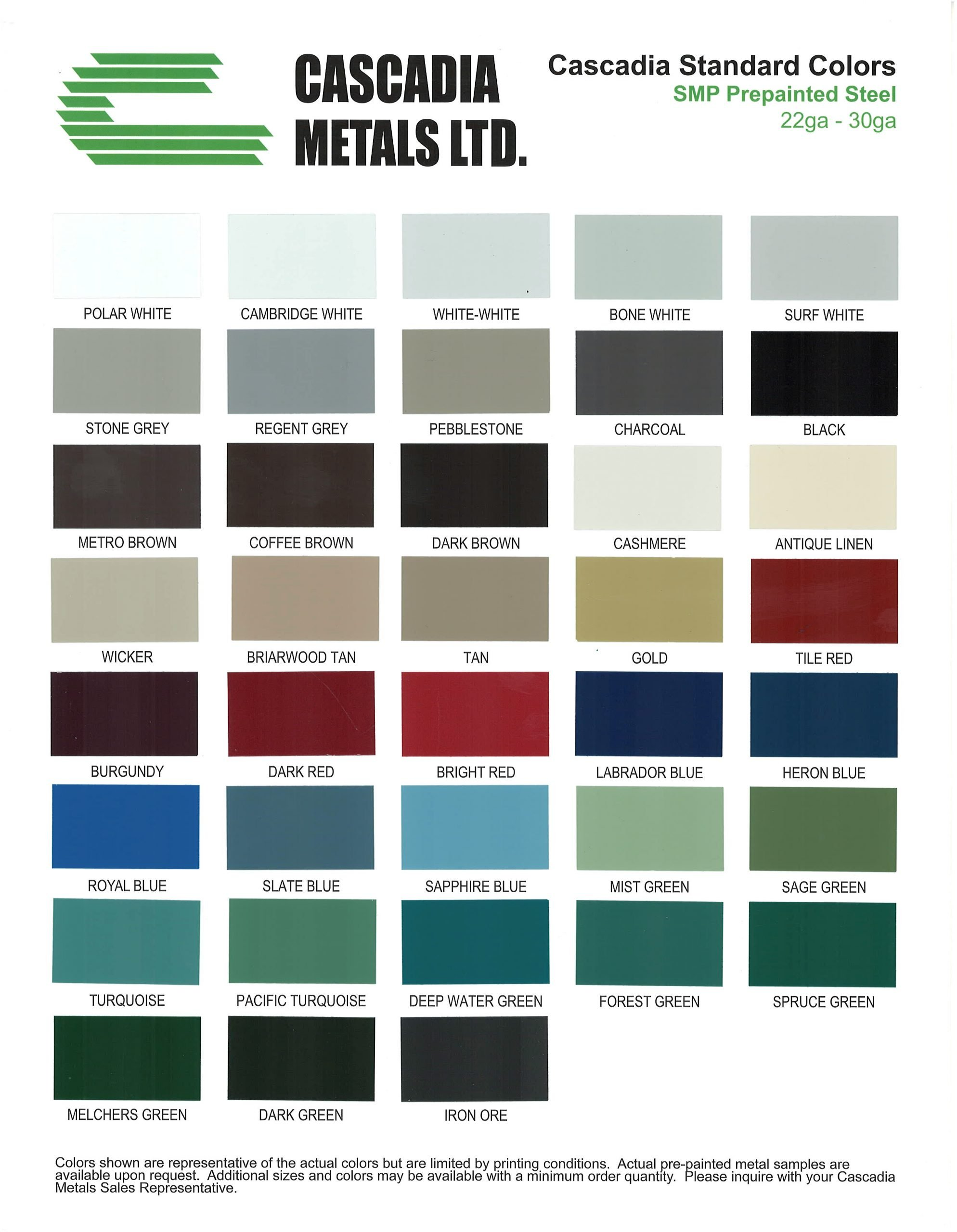24 Ga 26 Ga Standard SMP Color Chart Cascadia Metals