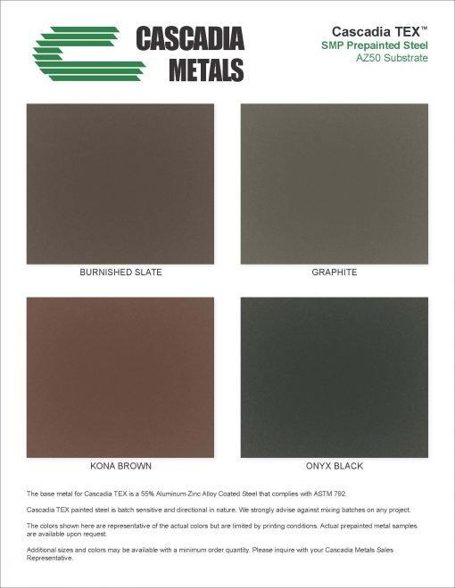 24 Ga Metallics TEX Color Chart Cascadia Metals