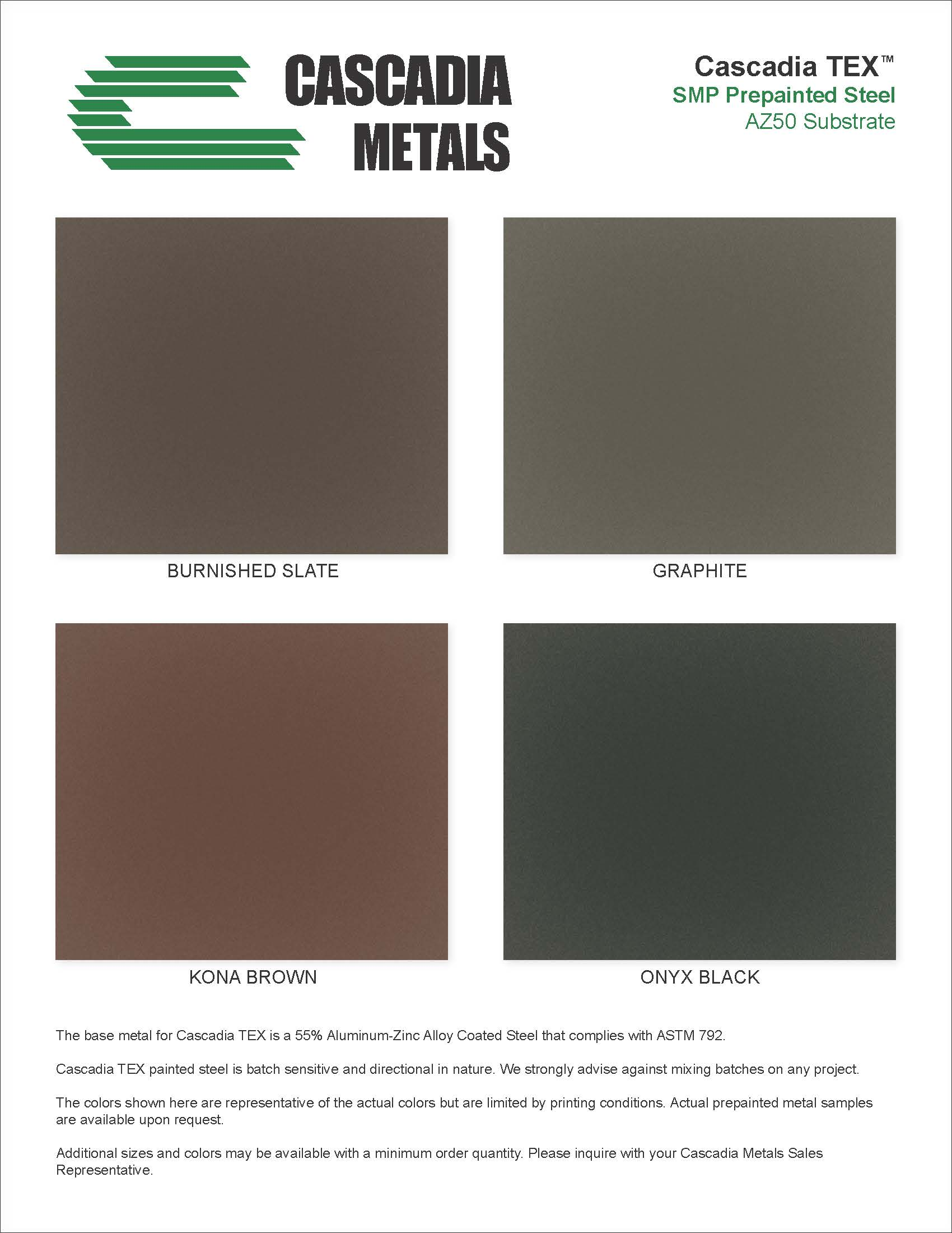 24 Ga Metallics TEX Color Chart Cascadia Metals