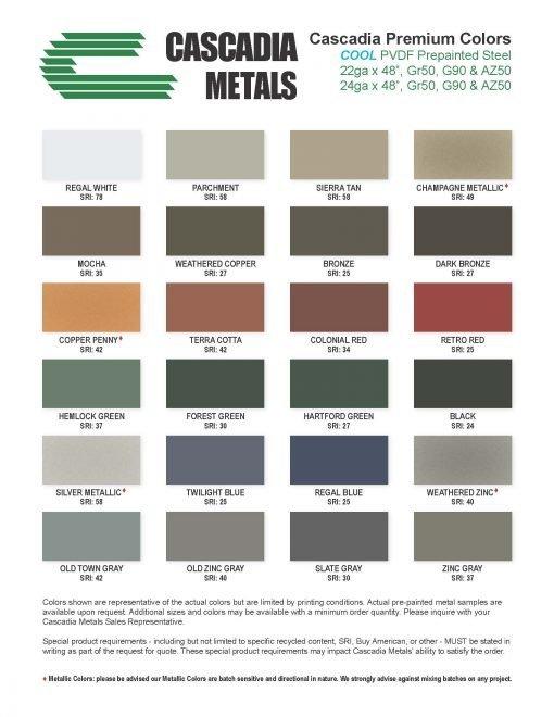 24 Ga Steel PVDF Kynar Color Chart Cascadia Metals