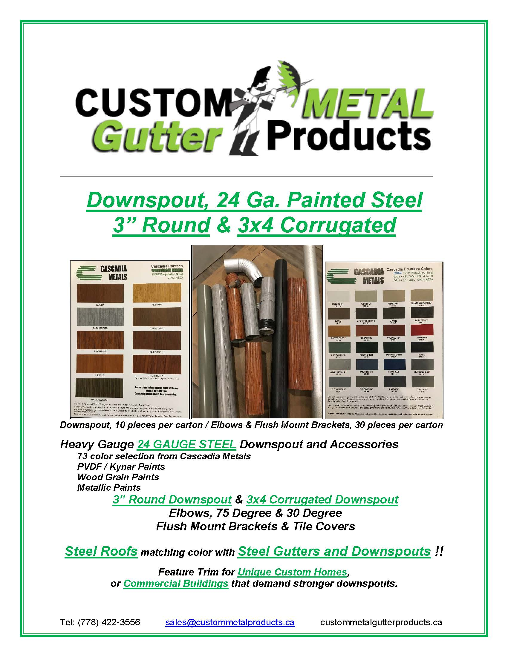 Downspout 24 Ga Painted Steel Fact Sheet