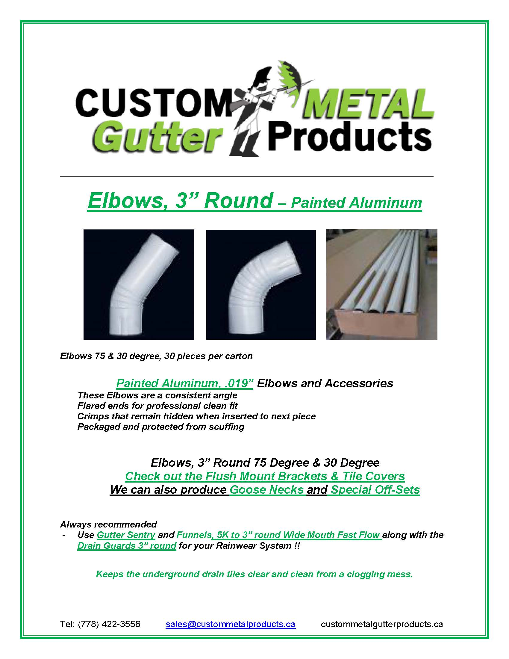 "Elbows, 3"" Round – Painted Aluminum Fact Sheet"
