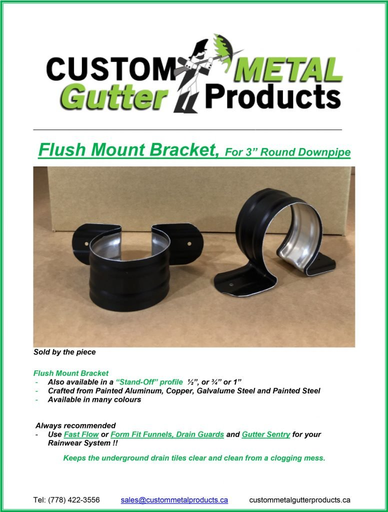 "Flush Mount Brackets downspout 3"" round Fact Sheet"