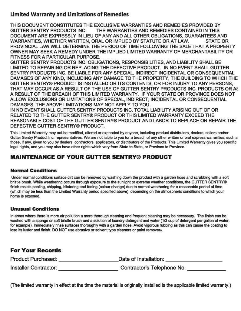 Gutter Sentry Warranty Card