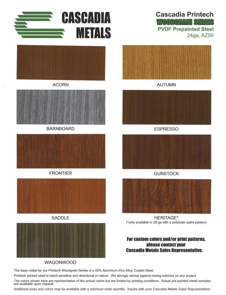 Woodgrain Color Chart